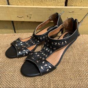 Clarks Artisan Wedge Sandals Black Comfort Shoes